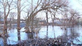 Inondazione del fiume in primavera in città durante la fusione della neve Disastro naturale stock footage