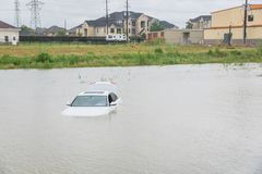 Inondazione dell'automobile della palude Fotografie Stock Libere da Diritti