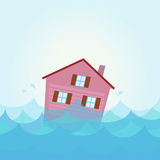 Inondazione della Camera - inondazione domestico sotto l'acqua Fotografia Stock Libera da Diritti