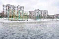 Inondazione della sorgente in una città Fotografia Stock
