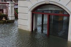 Inondazione di Seriouse nelle costruzioni allo Sheepshe Fotografia Stock