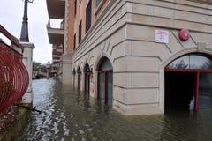 Inondazione di Seriouse nelle costruzioni allo Sheepshe Immagini Stock
