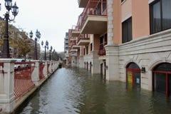 Inondazione di Seriouse nelle costruzioni allo Sheepshe Fotografie Stock