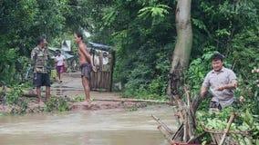 Inondazione, il Mekong, Cambogia, Sud-est asiatico stock footage