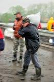 Inondazione in Polonia - in Slesia, Zabrze, fiume Klodnica Immagini Stock