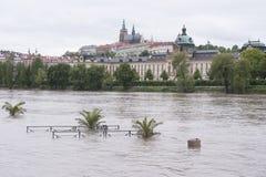 Inondazione a Praga Fotografia Stock