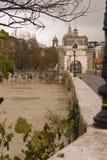 Inondazione su Roma Ponte Milvio Fotografia Stock Libera da Diritti