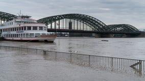 Inondazione sul Reno, Colonia, Germania Fotografia Stock
