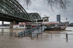 Inondazione sul Reno, Colonia, Germania Fotografia Stock Libera da Diritti