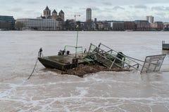 Inondazione sul Reno, Colonia, Germania Fotografie Stock