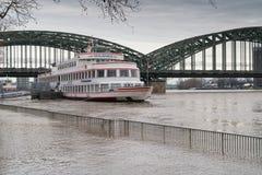 Inondazione sul Reno, Colonia, Germania Immagini Stock Libere da Diritti