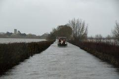 2014 inondazioni BRITANNICHE Muchelney Fotografia Stock