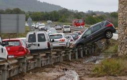 Inondazioni micidiali a San Llorenc ed Arta nell'isola Mallorca largamente immagine stock