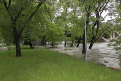 Inondazioni Praga 2013 - isola di Stvanice che è sommersa Fotografie Stock