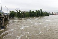 Inondazioni Praga 2013 - isola di Stvanice sotto acqua Immagini Stock Libere da Diritti