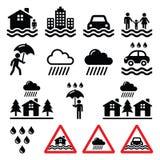 Inondez, catastrophe naturelle, icônes de forte pluie réglées illustration stock