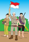Inonesian folk och soldat Royaltyfria Bilder