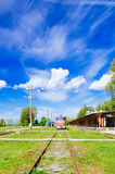 Inoperative railway station in Haapsalu, Estonia. Retro locomotive train and inoperative railway station in Haapsalu, Estonia Stock Photo