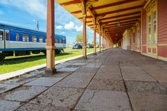 Inoperative railway station platform in Haapsalu, Estonia. Retro locomotive trains and inoperative railway station platform in Haapsalu, Estonia stock photos