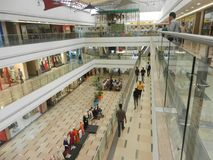 Inorbit mall, vashi, navi mumbai , maharashtra ,india , 14 November 2017 :all floor view inside mall with people doing shopping stock photo