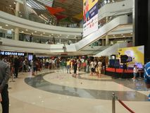 Inorbit mall, vashi, navi mumbai , maharashtra ,india , 14 November 2017 :view inside mall with people crowd. All around royalty free stock photo
