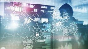 Inovação da tecnologia e automatização de processo Indústria esperta 4 foto de stock