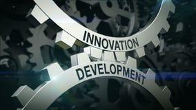 Inovação das palavras-chaves, desenvolvimento no mecanismo de duas rodas denteadas Engrenagens ilustração stock