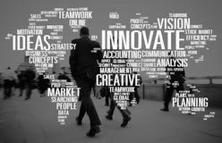 Inova o conceito do progresso das ideias da faculdade criadora da inspiração Fotografia de Stock