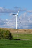 Inovation-Old Windmil and New Windturbine Stock Image