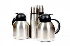 Inox metal thermos. Modern metal thermos with and without handle Stock Photos