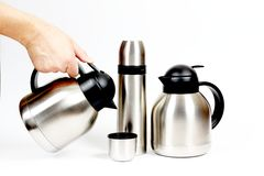 Inox metal thermos Stock Photo