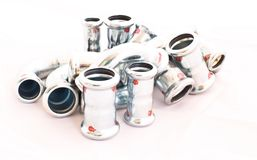 Inox stainless steel instalation fittings Stock Photo