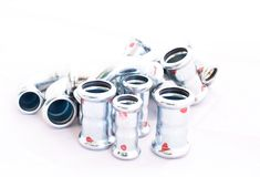 Inox stainless steel instalation fittings Stock Photography