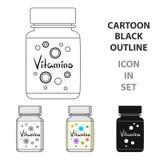 Inpackning med vitaminer Enkel symbol för medicin i rengöringsduk för illustration för materiel för symbol för tecknad filmstilve vektor illustrationer