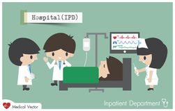 Inpatient department in Hospital .. Staff , general practitioner and nurse plan to treat their patient . Vector Stock Image