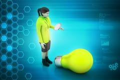 inpirationen för idéer för fisheye för kulabegreppseffekt isolerade den ljusa vita kvinnan Arkivbild