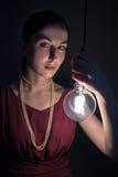 inpirationen för idéer för fisheye för kulabegreppseffekt isolerade den ljusa vita kvinnan Royaltyfria Foton
