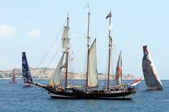 Inport de los veleros de la raza del océano de Volvo Imagen de archivo libre de regalías