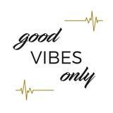 Inpsirational e citações conscientes: Boas vibrações somente Imagem de Stock Royalty Free