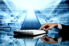 Input data. Businessman input data information on keyboard Royalty Free Stock Images