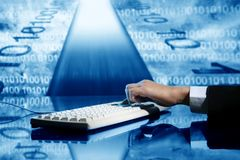 Input data. Businessman input data information on keyboard Stock Photo