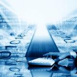 Input data. Businessman input data information on keyboard Royalty Free Stock Image