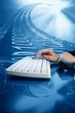 Input data. Businessman input data information on keyboard Stock Photography