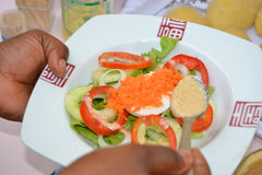INPUT FOOD TEST. Meal view held by an expert for a food test that is a healthy and light meal for consumers stock photo