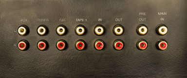 Input-Output audio connectors Stock Image
