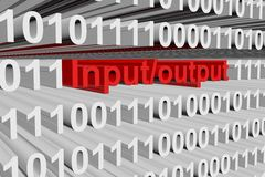 Input output. In binary code, 3D illustration Royalty Free Stock Image