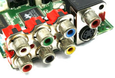 Input and output  jacks connection Stock Photos