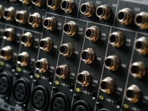 Input output panel of a soundboard Royalty Free Stock Photo