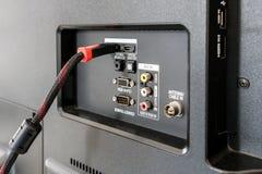 Input/Output Platte auf der Rückseite Fernsehens lizenzfreie stockbilder