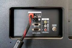 Input/Output Platte auf der Rückseite Fernsehens lizenzfreie stockfotografie